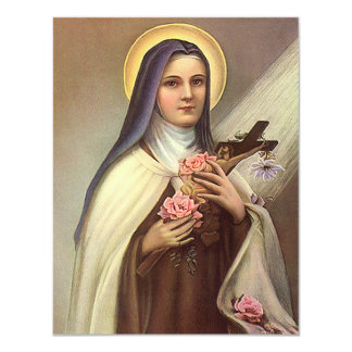 Vintage Religious Easter, Nun with Cross 11 Cm X 14 Cm Invitation Card