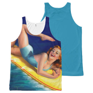 Vintage Retro Billy DeVorss Surf Surfer Pinup girl All-Over Print Tank Top