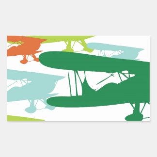 Vintage Retro BiPlane Lonely Sparrow Airplane Desi Rectangular Sticker