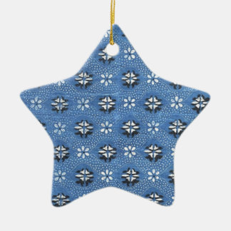 Vintage Retro Blue Floral Pattern Christmas Ornament