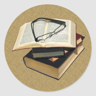 Vintage & Retro Books with Eye Glasses Stickers