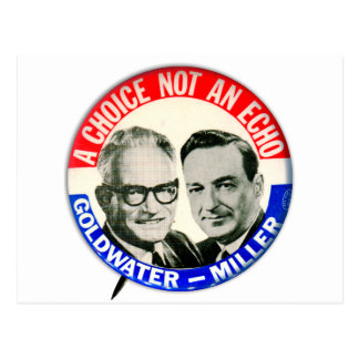 Vintage Retro Goldwater Miller Election Button Postcard