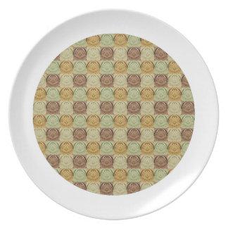 Vintage Retro Green Yellow Brown Circle Pattern Dinner Plates