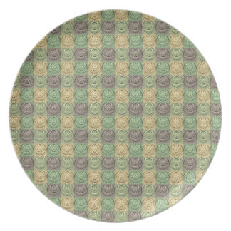 Vintage Retro Green Yellow Gray Circle Pattern Party Plate