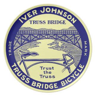 Vintage retro Iver Johnson Truss Bridge bicycle Dinner Plate
