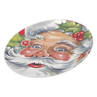 Vintage Retro Jolly Santa Claus Plate