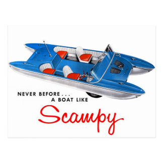 Vintage Retro Kitsch 50s Scampy Auto and Boat Postcard