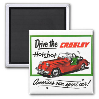 Vintage Retro Kitsch Car Auto Crosley Hotshot Square Magnet