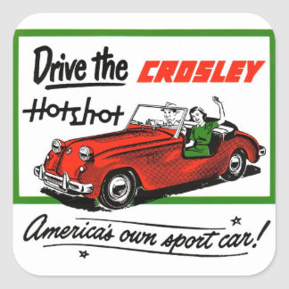 Vintage Retro Kitsch Car Auto Crosley Hotshot Square Sticker