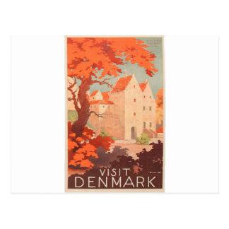 Vintage Retro Poster Visit Denmark Postcard