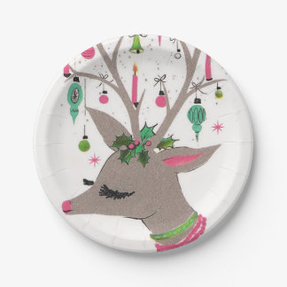 Vintage retro reindeer Christmas party plate