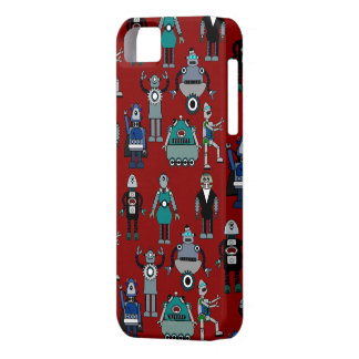 Vintage Retro Robots on Red - Funky Geek Fun! iPhone 5 Cover