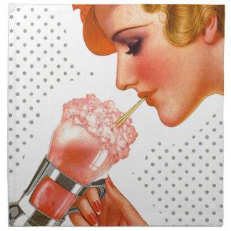 Vintage Retro Soda Fountain Strawberry Napkins