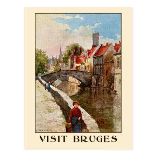Vintage retro style Bruges travel ad Postcard