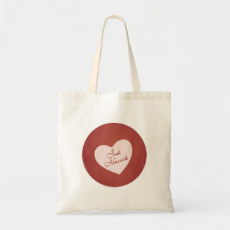 Vintage Retro Style Just Married On Antique Red Canvas Bag