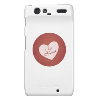 Vintage Retro Style Just Married On Antique Red Droid RAZR Covers