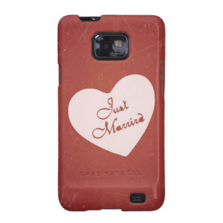 Vintage Retro Style Just Married On Antique Red Samsung Galaxy S2 Cases