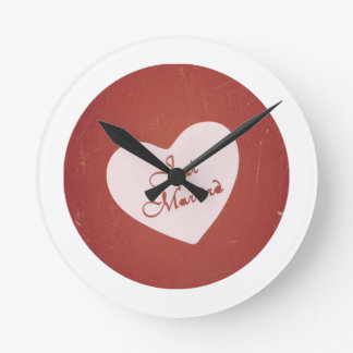 Vintage Retro Style Just Married On Antique Red Wallclocks