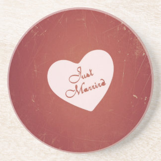 Vintage Retro Style Just Married On Antique Red Drink Coaster