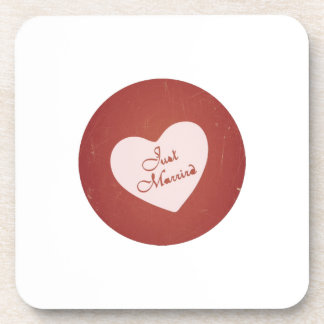 Vintage Retro Style Just Married On Antique Red Beverage Coasters