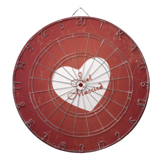 Vintage Retro Style Just Married On Antique Red Dartboards