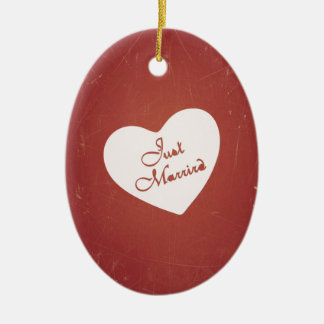 Vintage Retro Style Just Married On Antique Red Christmas Ornaments