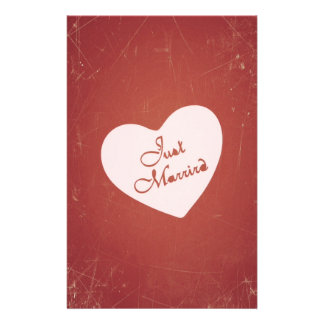 Vintage Retro Style Just Married On Antique Red Flyers