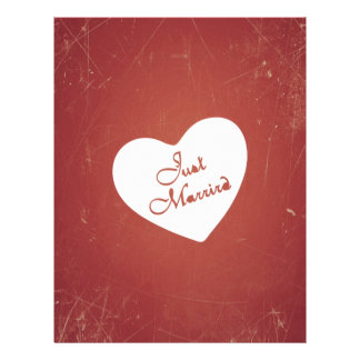 Vintage Retro Style Just Married On Antique Red Flyer
