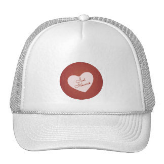 Vintage Retro Style Just Married On Antique Red Trucker Hats