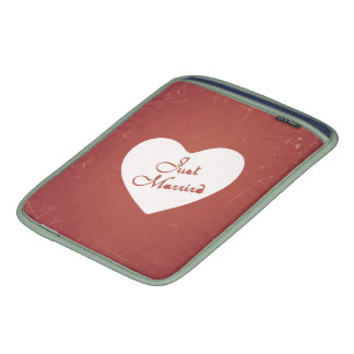 Vintage Retro Style Just Married On Antique Red Sleeves For iPads