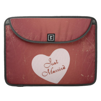 Vintage Retro Style Just Married On Antique Red Sleeve For MacBook Pro