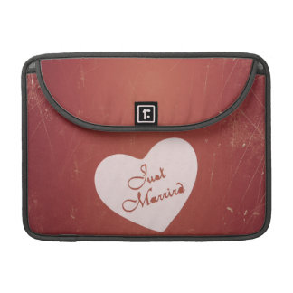 Vintage Retro Style Just Married On Antique Red Sleeves For MacBooks