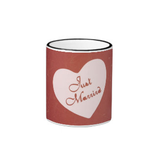 Vintage Retro Style Just Married On Antique Red Coffee Mugs