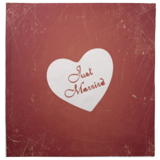 Vintage Retro Style Just Married On Antique Red Napkins