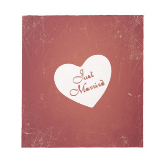 Vintage Retro Style Just Married On Antique Red Scratch Pads