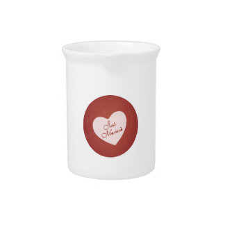 Vintage Retro Style Just Married On Antique Red Pitcher