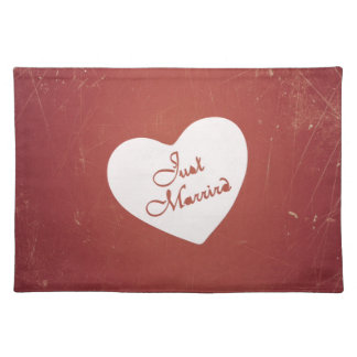 Vintage Retro Style Just Married On Antique Red Placemat