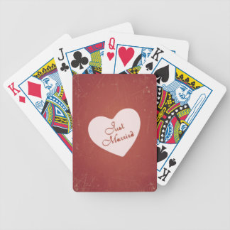 Vintage Retro Style Just Married On Antique Red Poker Cards