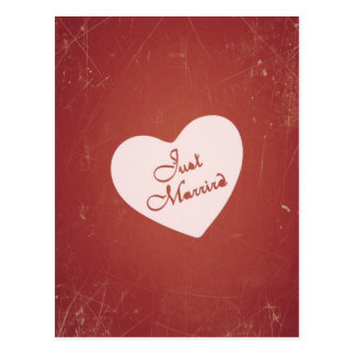 Vintage Retro Style Just Married On Antique Red Post Card