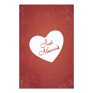 Vintage Retro Style Just Married On Antique Red Customized Stationery