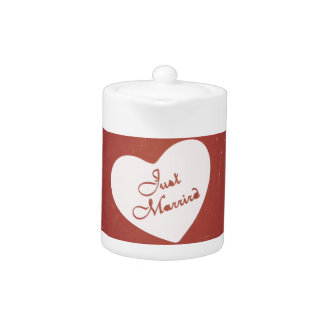 Vintage Retro Style Just Married On Antique Red