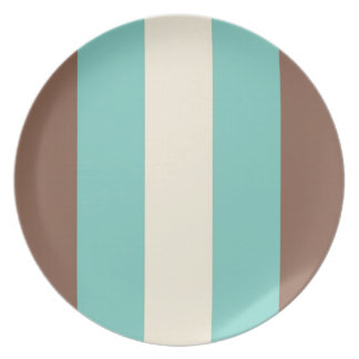 Vintage Retro Turquoise Blue, Brown, Cream Striped Party Plate
