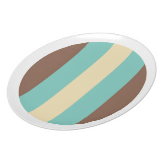 Vintage Retro Turquoise Blue, Brown, Cream Striped Plates