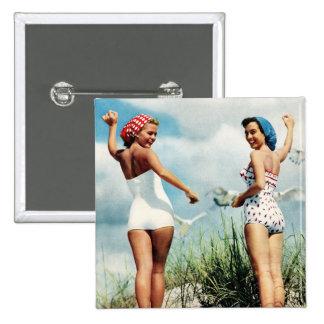 Vintage Retro Women 60s Surfing Beach Girls 15 Cm Square Badge
