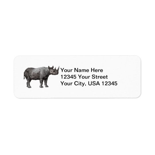 Vintage Rhino Return Address Labels