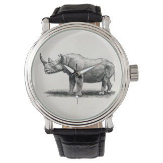Vintage Rhinoceros Illustration Rhino Rhinos Wristwatches