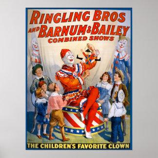 Vintage Ringling Bros - Barnum & Bailey Clown Show Poster