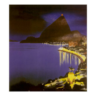 Vintage Rio De Janeiro at Night Poster