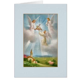Vintage Risen Lamb of God and Angels Easter Card