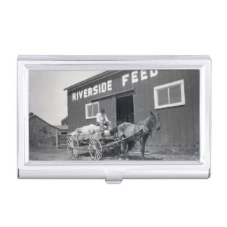 Vintage Riverside Feed Mill Farmer and Horse Business Card Holder